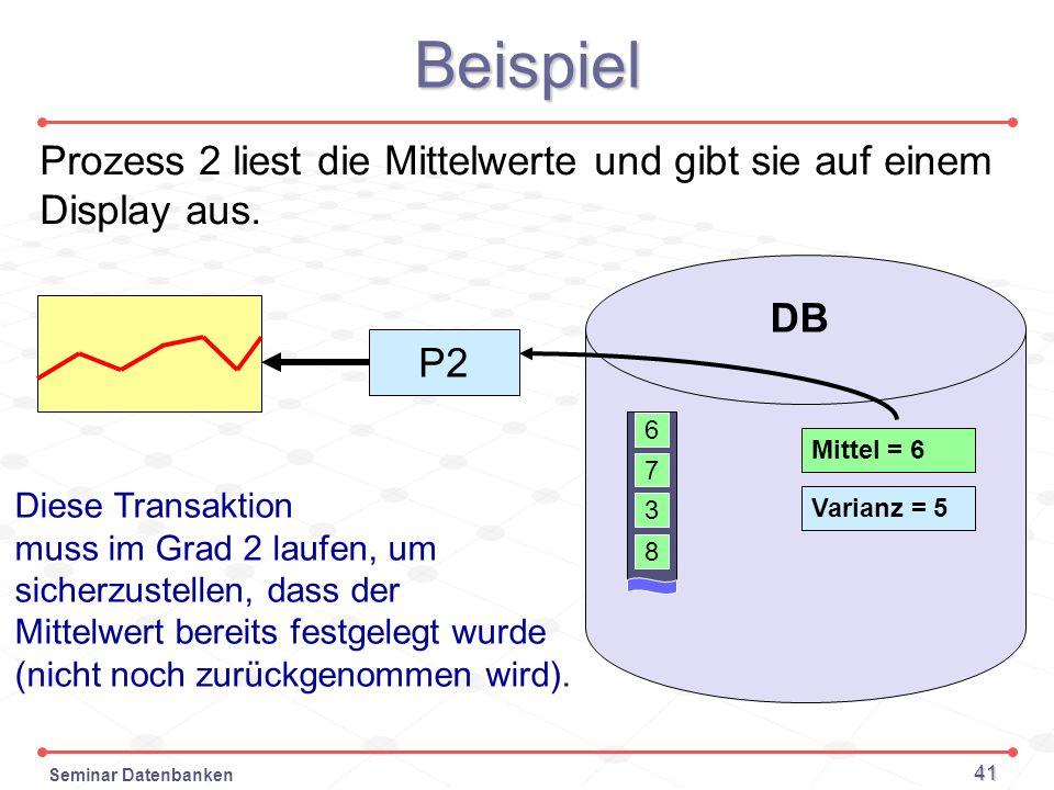 BeispielProzess 2 liest die Mittelwerte und gibt sie auf einem Display aus. DB. P2. 6. Mittel = 6. 7.