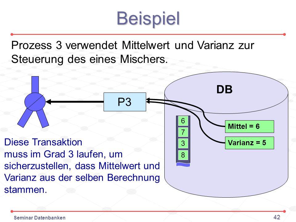 Beispiel Prozess 3 verwendet Mittelwert und Varianz zur Steuerung des eines Mischers. DB. P3. 6.