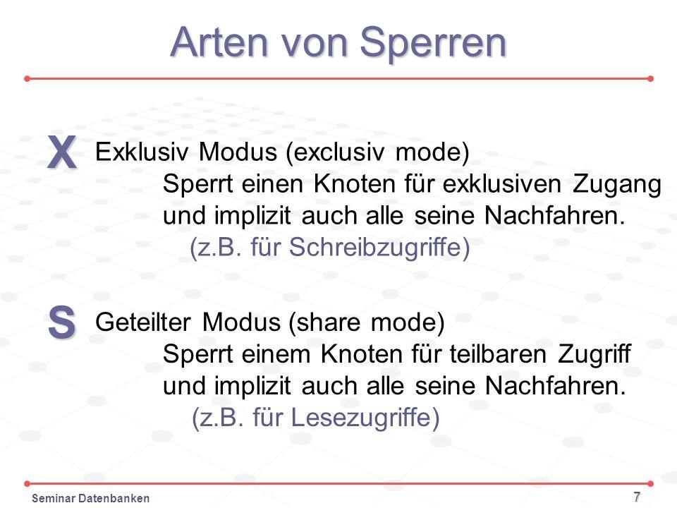 X S Arten von Sperren Exklusiv Modus (exclusiv mode)