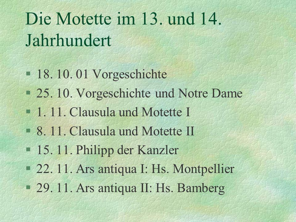 Die Motette im 13. und 14. Jahrhundert