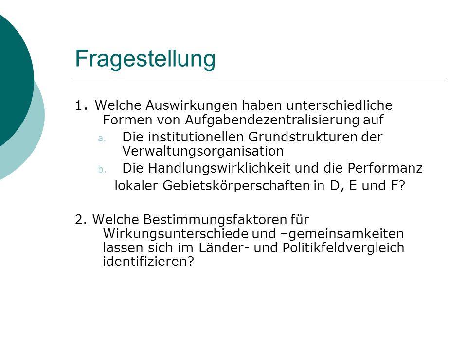 Fragestellung 1. Welche Auswirkungen haben unterschiedliche Formen von Aufgabendezentralisierung auf.