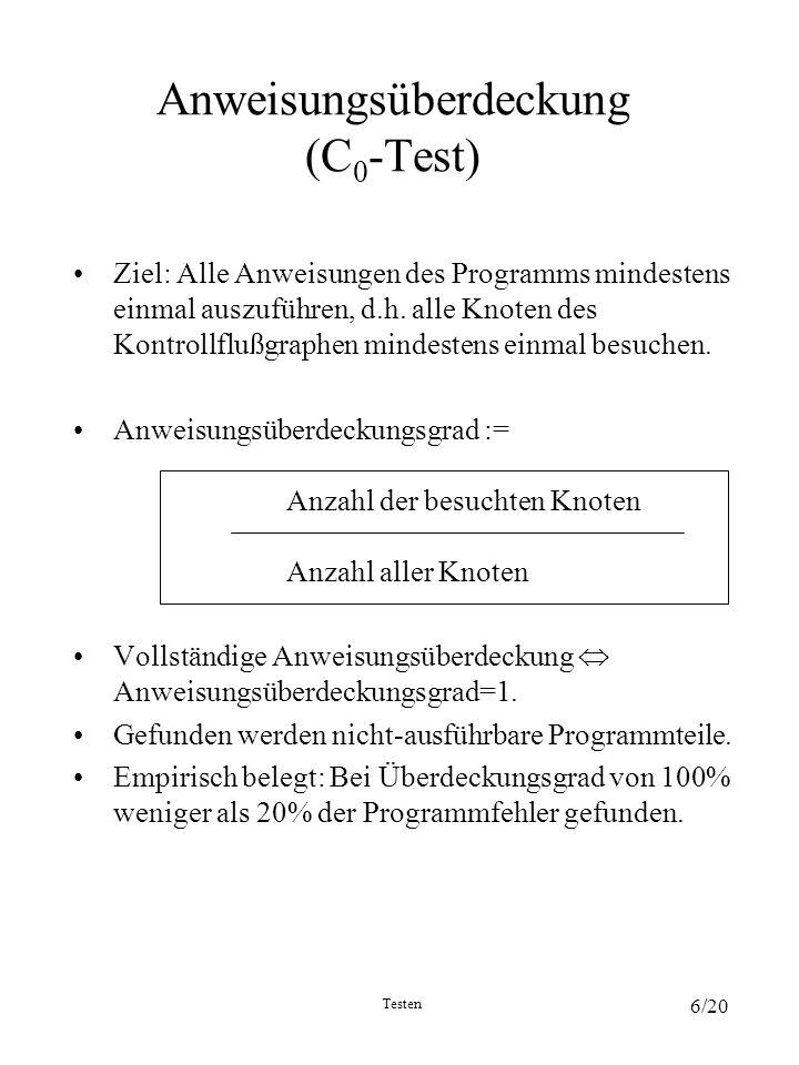 Anweisungsüberdeckung (C0-Test)
