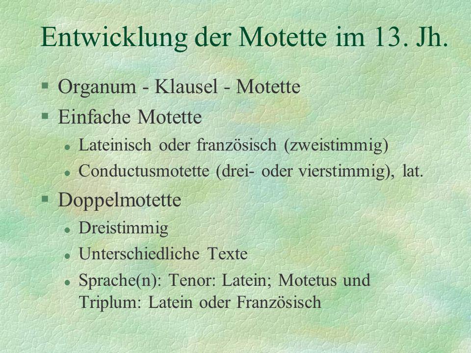 Entwicklung der Motette im 13. Jh.