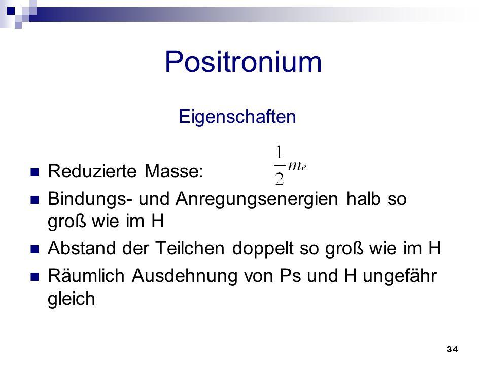 Positronium Eigenschaften Reduzierte Masse: