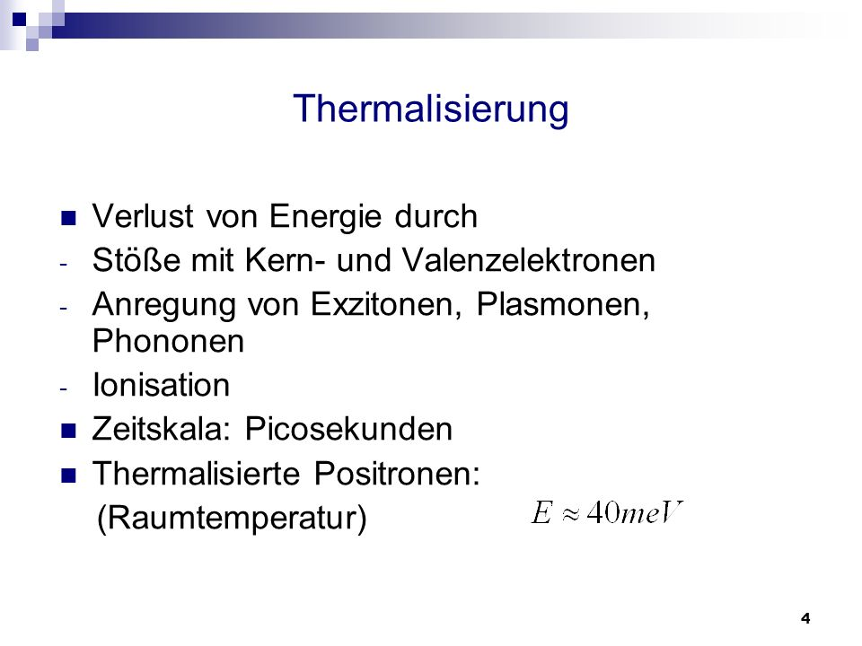 Thermalisierung Verlust von Energie durch