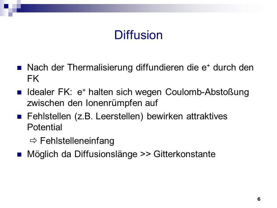 Diffusion Nach der Thermalisierung diffundieren die e+ durch den FK