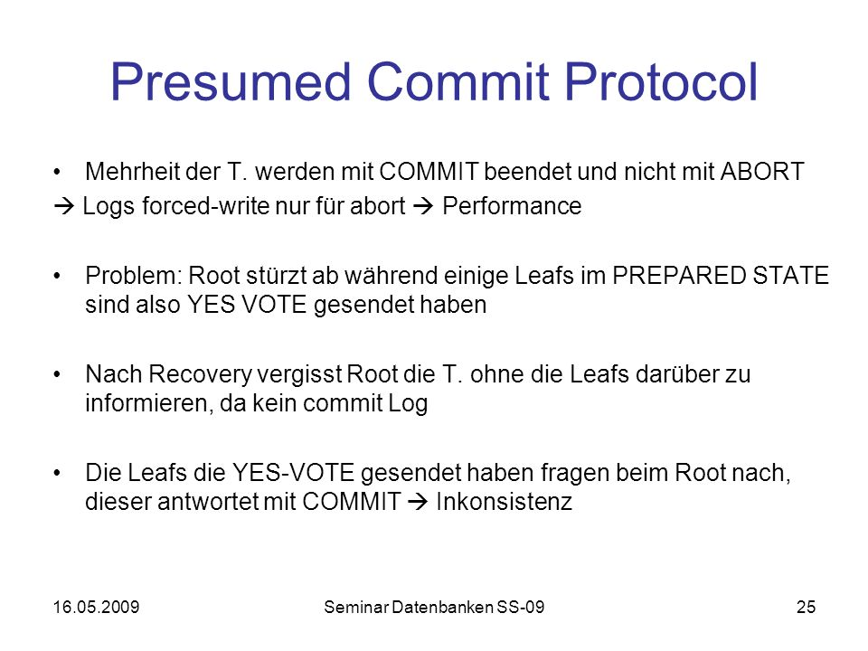 Presumed Commit Protocol