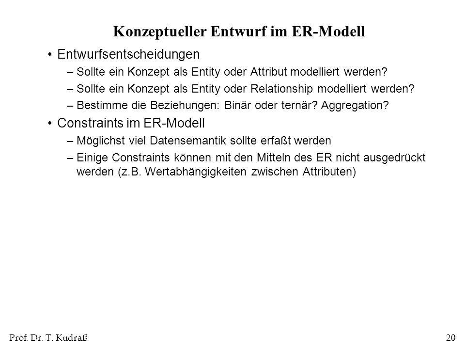 Konzeptueller Entwurf im ER-Modell