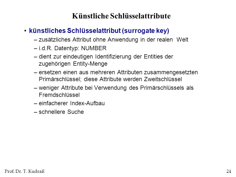 Künstliche Schlüsselattribute