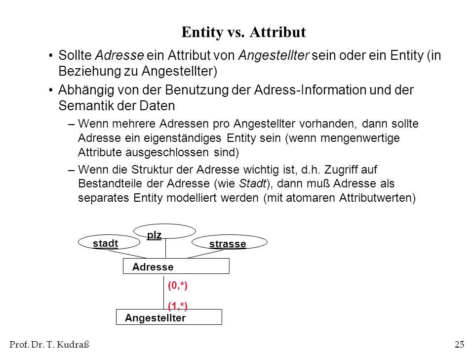 Entity vs. Attribut Sollte Adresse ein Attribut von Angestellter sein oder ein Entity (in Beziehung zu Angestellter)