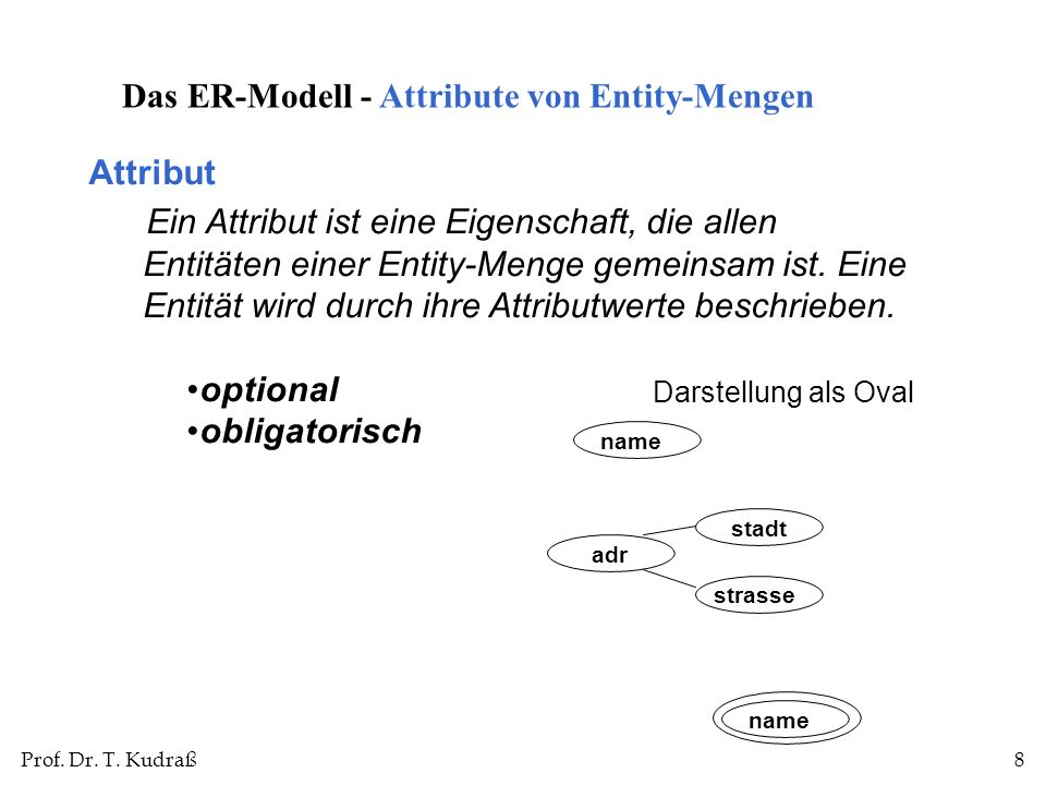 Das ER-Modell - Attribute von Entity-Mengen