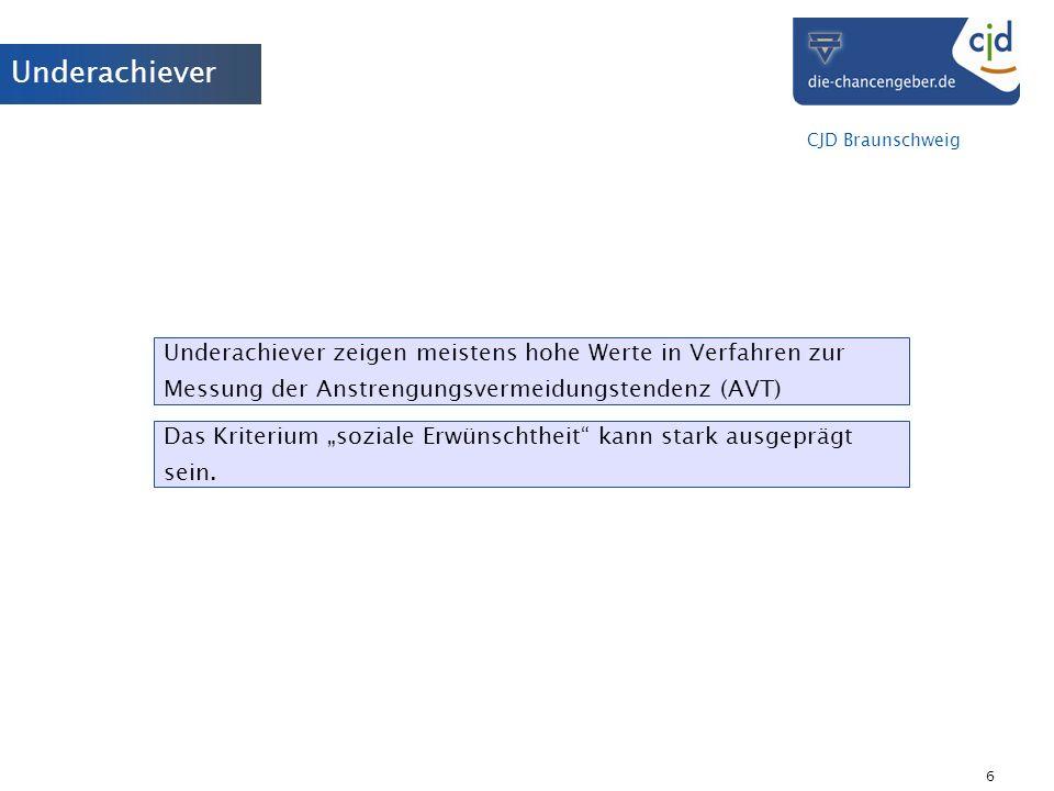 Underachiever Underachiever zeigen meistens hohe Werte in Verfahren zur Messung der Anstrengungsvermeidungstendenz (AVT)
