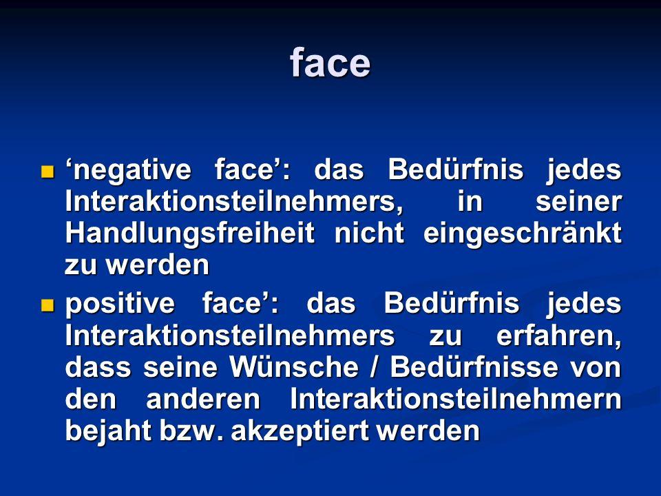 face 'negative face': das Bedürfnis jedes Interaktionsteilnehmers, in seiner Handlungsfreiheit nicht eingeschränkt zu werden.