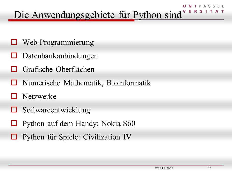 Die Anwendungsgebiete für Python sind