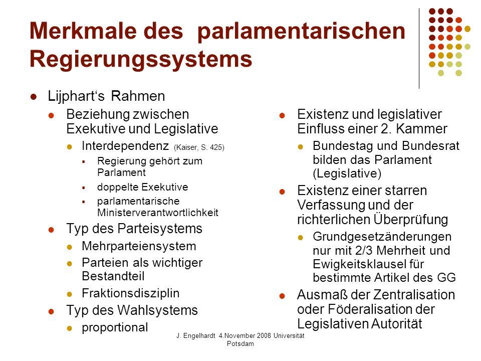 Merkmale des parlamentarischen Regierungssystems