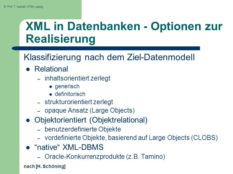 XML in Datenbanken - Optionen zur Realisierung