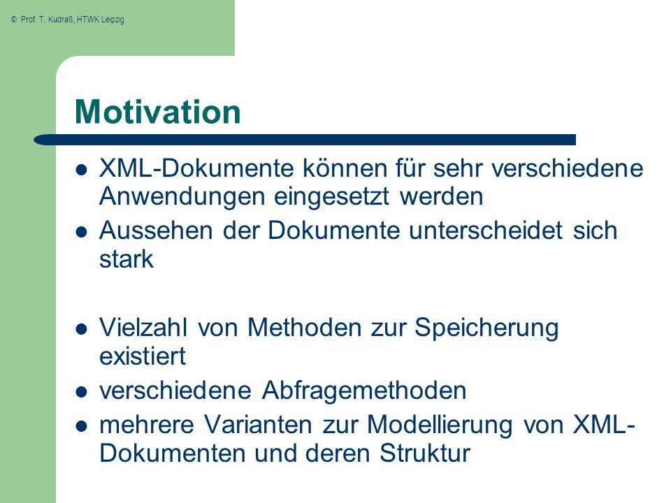 Motivation XML-Dokumente können für sehr verschiedene Anwendungen eingesetzt werden. Aussehen der Dokumente unterscheidet sich stark.