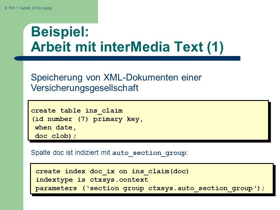 Beispiel: Arbeit mit interMedia Text (1)