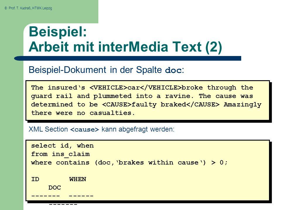 Beispiel: Arbeit mit interMedia Text (2)