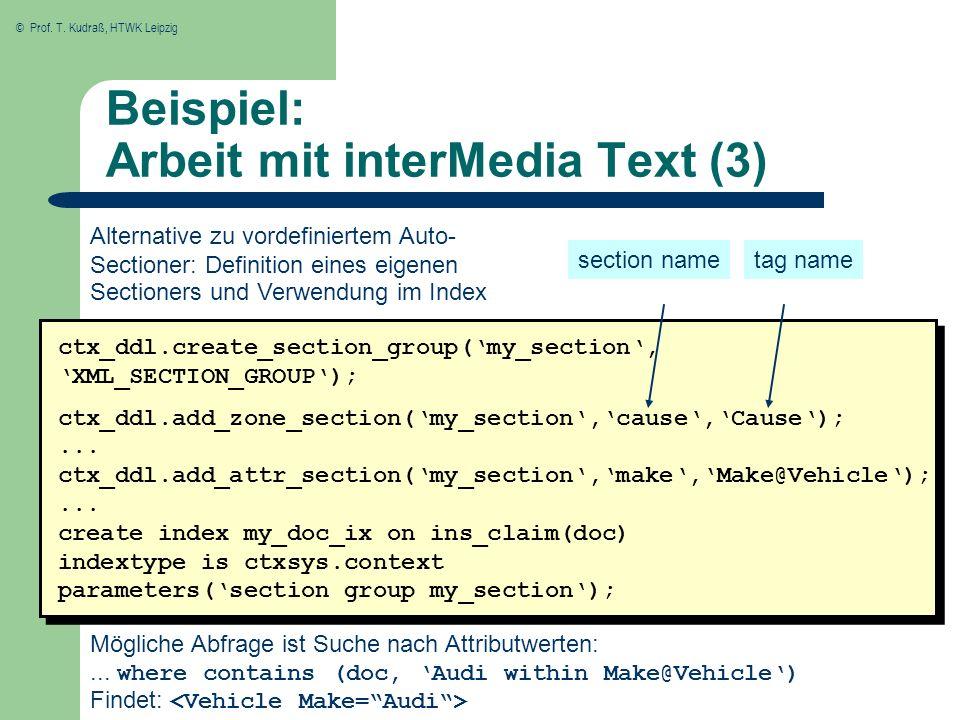 Beispiel: Arbeit mit interMedia Text (3)