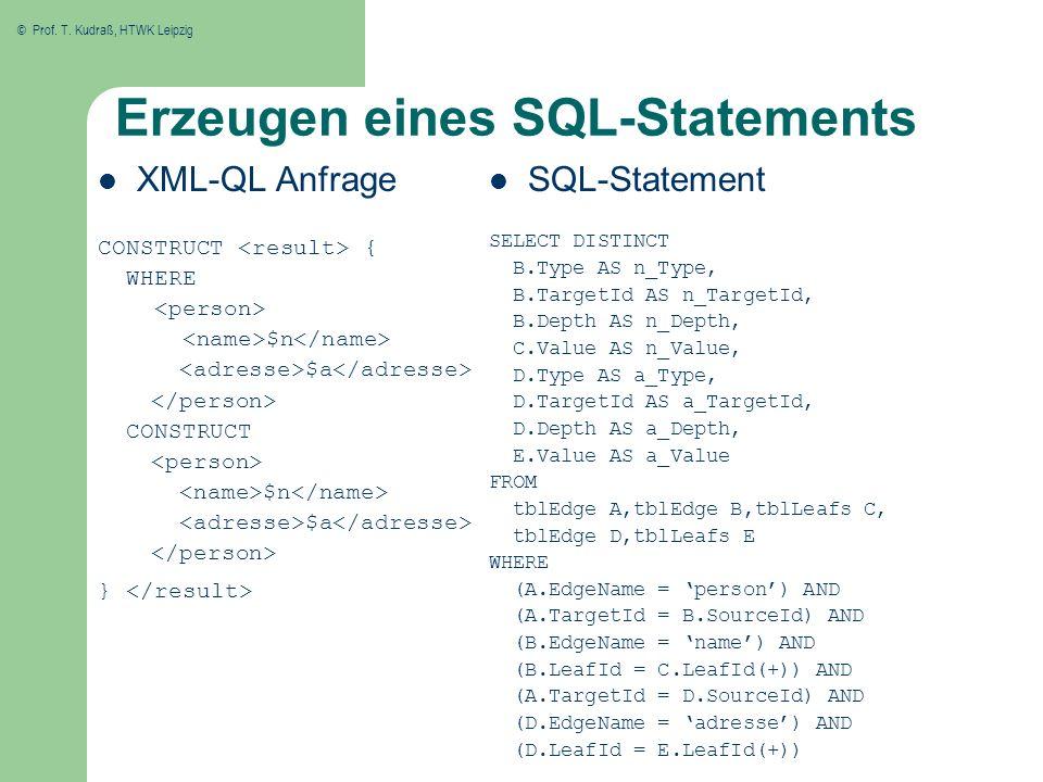 Erzeugen eines SQL-Statements