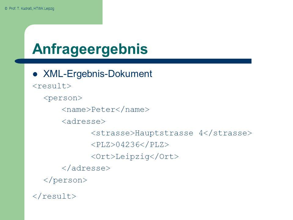 Anfrageergebnis XML-Ergebnis-Dokument <result> <person>