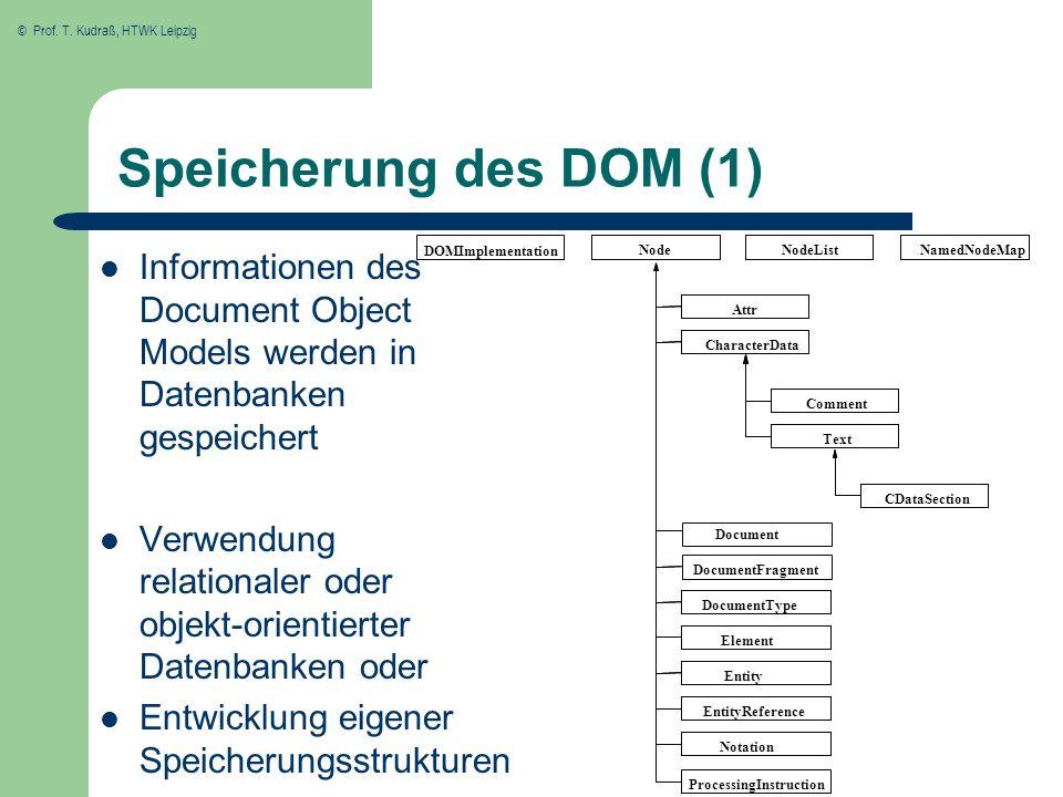 Speicherung des DOM (1) Informationen des Document Object Models werden in Datenbanken gespeichert.