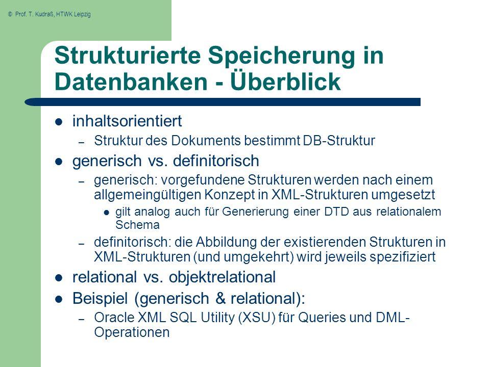 Strukturierte Speicherung in Datenbanken - Überblick