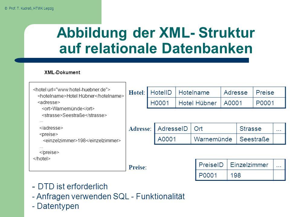 Abbildung der XML- Struktur auf relationale Datenbanken