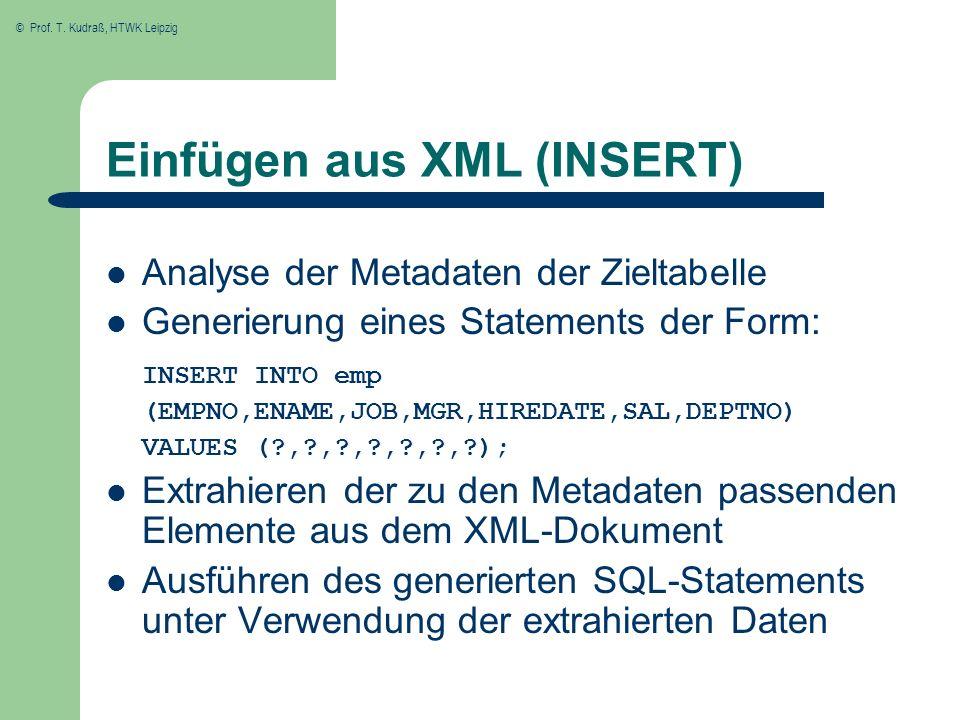 Einfügen aus XML (INSERT)