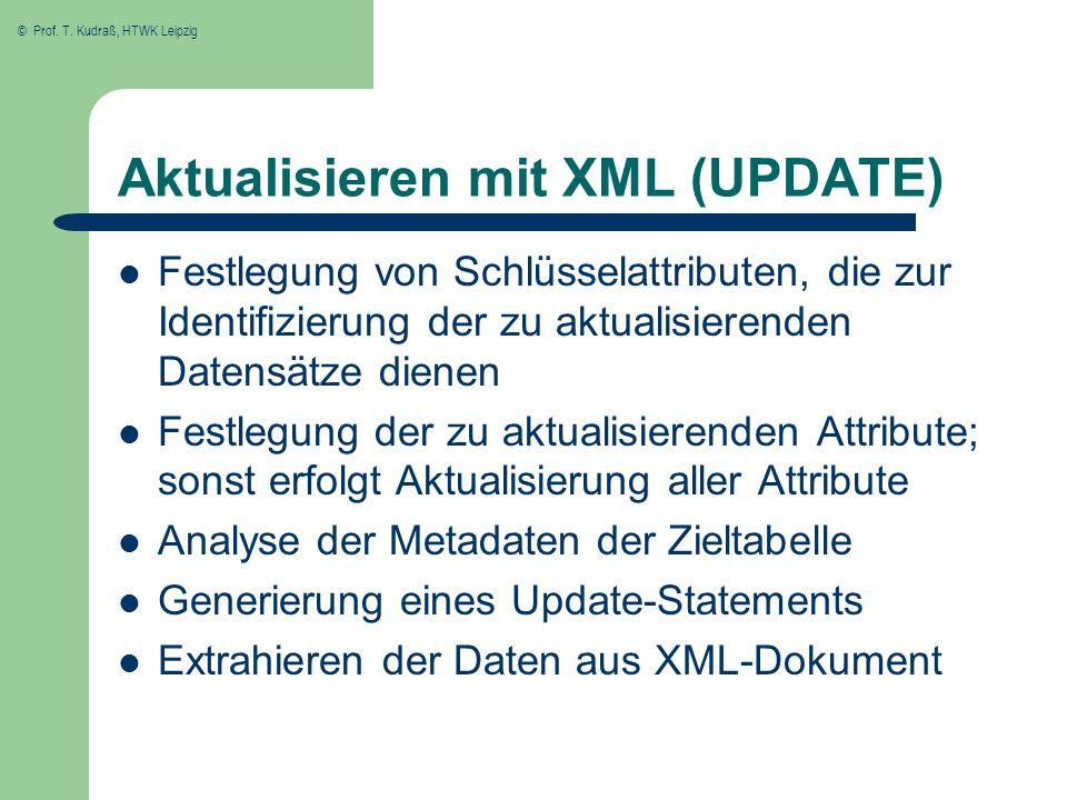 Aktualisieren mit XML (UPDATE)