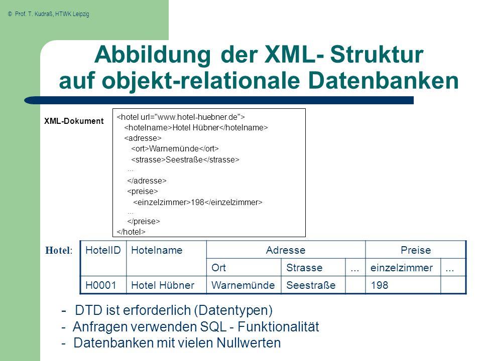 Abbildung der XML- Struktur auf objekt-relationale Datenbanken