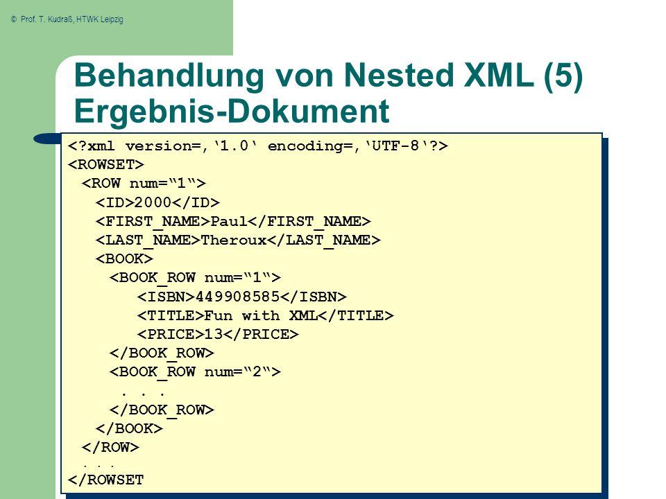 Behandlung von Nested XML (5) Ergebnis-Dokument