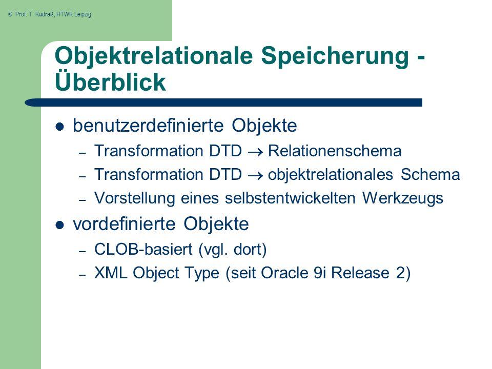 Objektrelationale Speicherung - Überblick