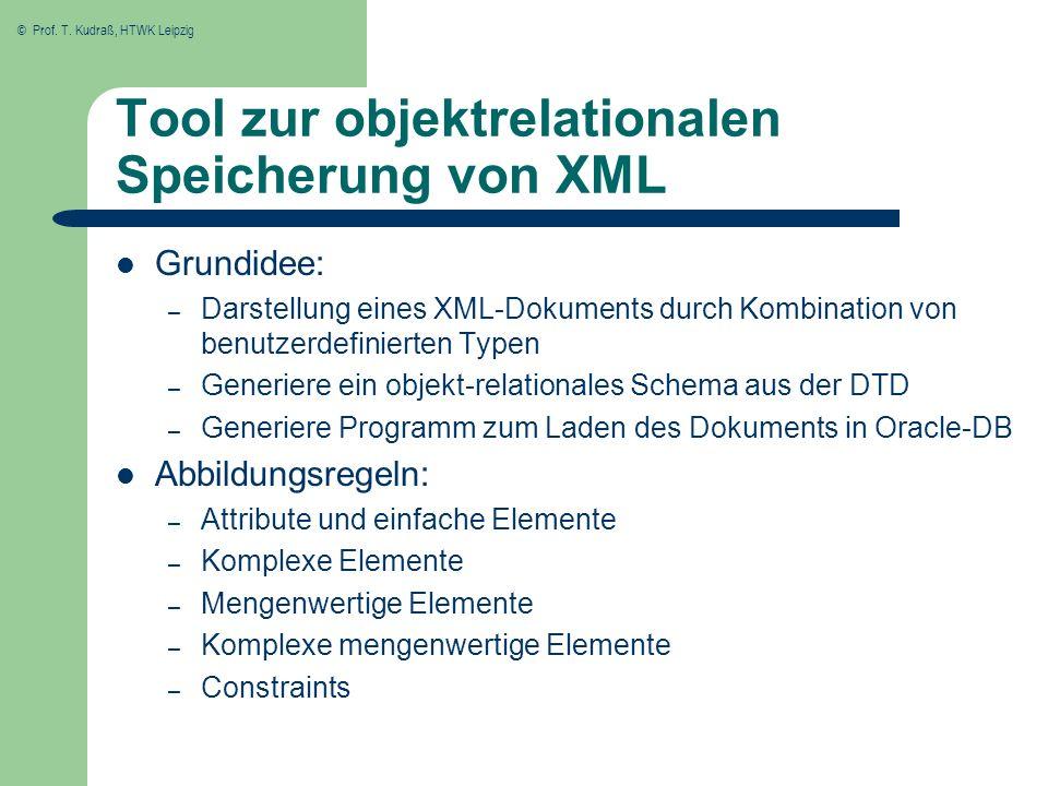 Tool zur objektrelationalen Speicherung von XML