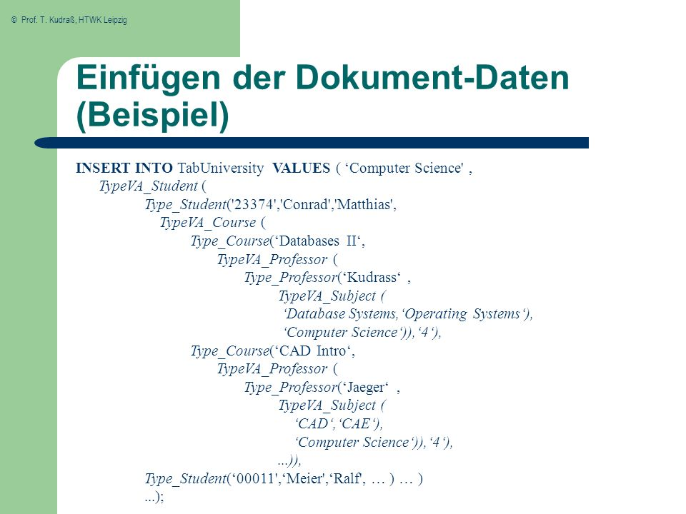 Einfügen der Dokument-Daten (Beispiel)