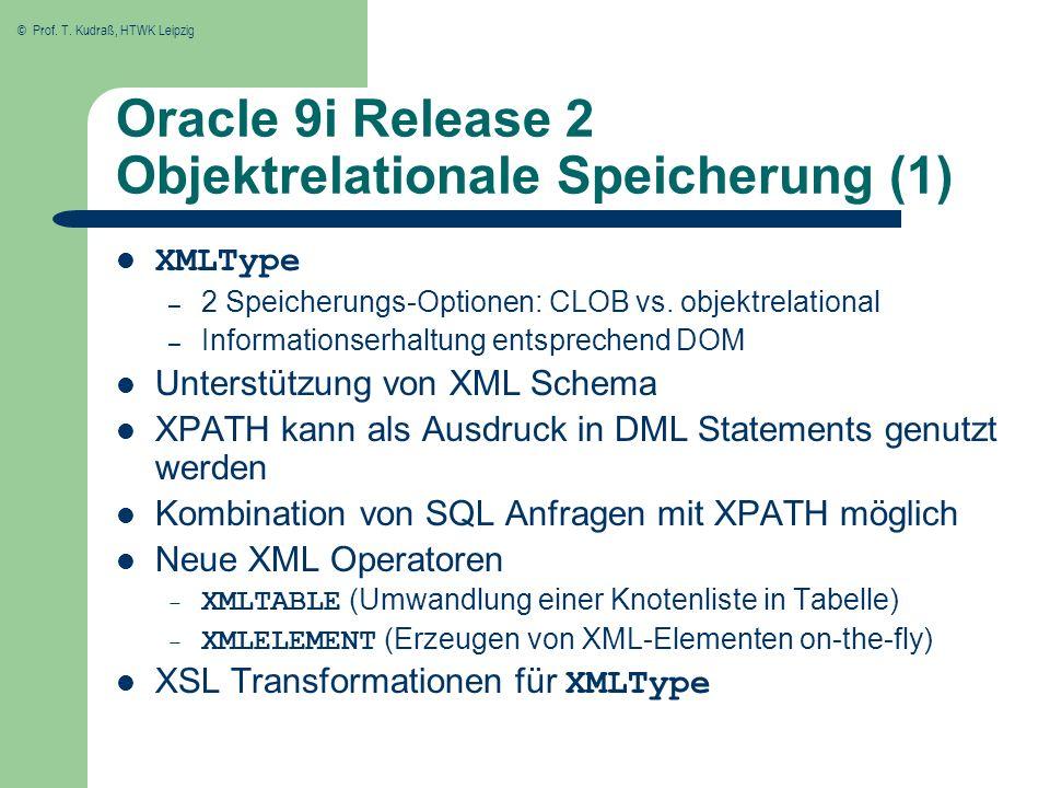 Oracle 9i Release 2 Objektrelationale Speicherung (1)