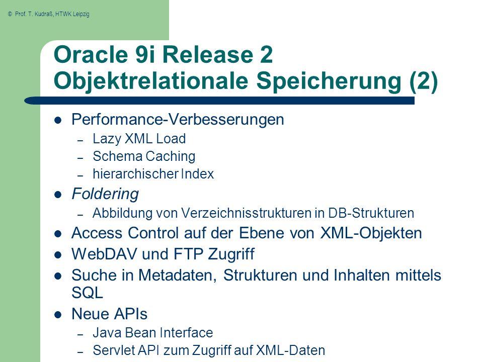 Oracle 9i Release 2 Objektrelationale Speicherung (2)