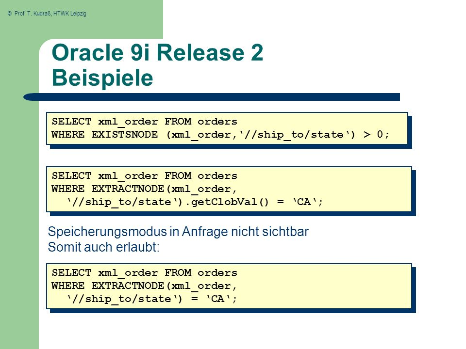 Oracle 9i Release 2 Beispiele