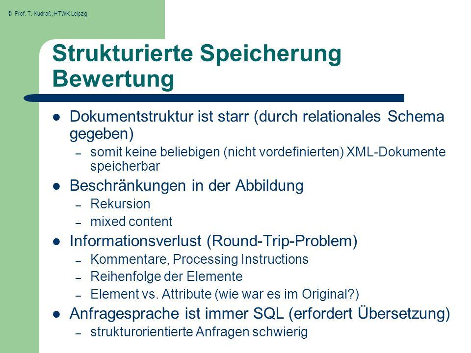 Strukturierte Speicherung Bewertung
