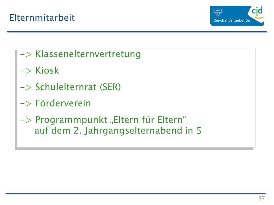Elternmitarbeit -> Klassenelternvertretung. -> Kiosk. -> Schulelternrat (SER) -> Förderverein.