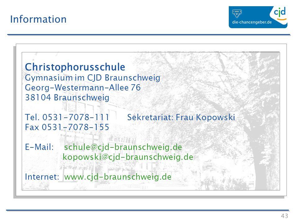 Information Christophorusschule Gymnasium im CJD Braunschweig