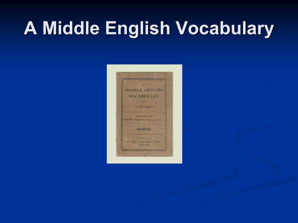 A Middle English Vocabulary