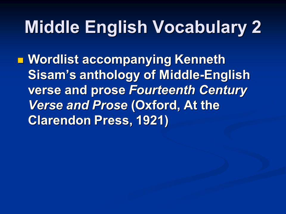 Middle English Vocabulary 2