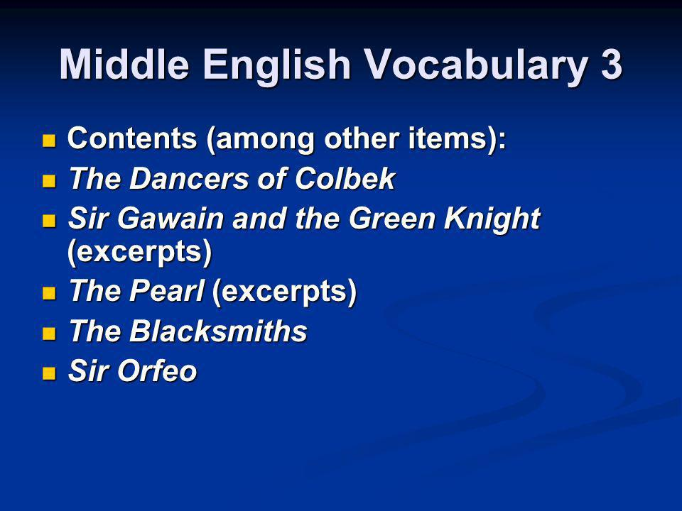 Middle English Vocabulary 3