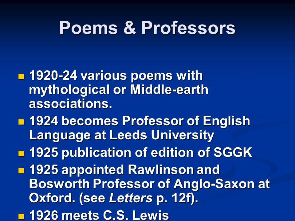 Poems & Professors 1920-24 various poems with mythological or Middle-earth associations.