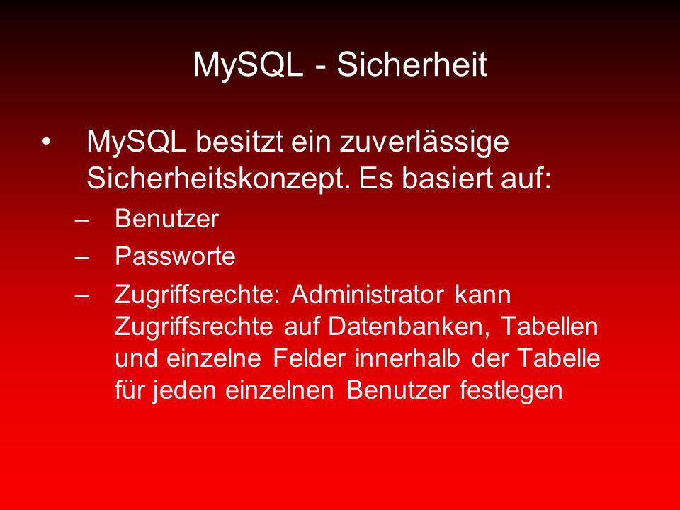 MySQL - Sicherheit MySQL besitzt ein zuverlässige Sicherheitskonzept. Es basiert auf: Benutzer. Passworte.