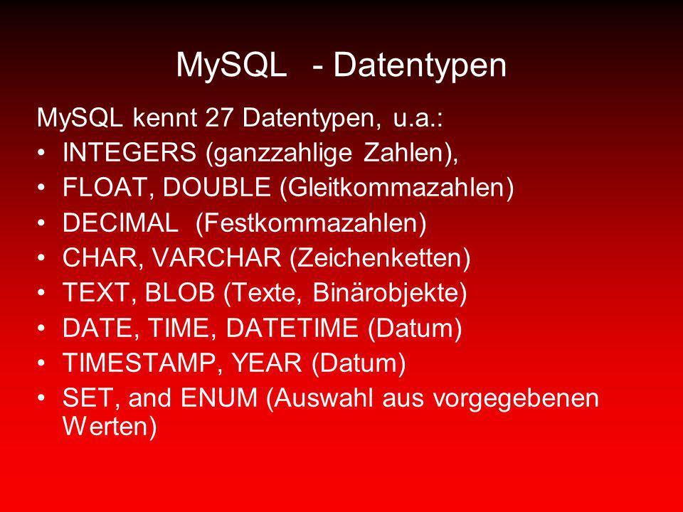 MySQL - Datentypen MySQL kennt 27 Datentypen, u.a.: