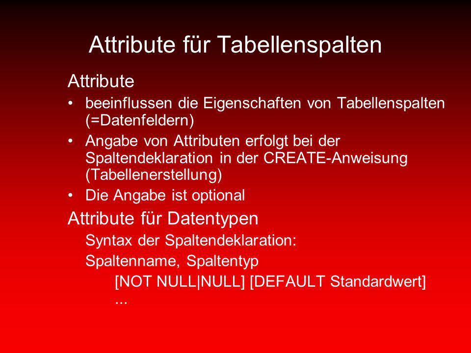 Attribute für Tabellenspalten