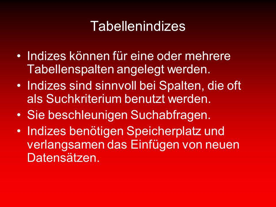 Tabellenindizes Indizes können für eine oder mehrere Tabellenspalten angelegt werden.